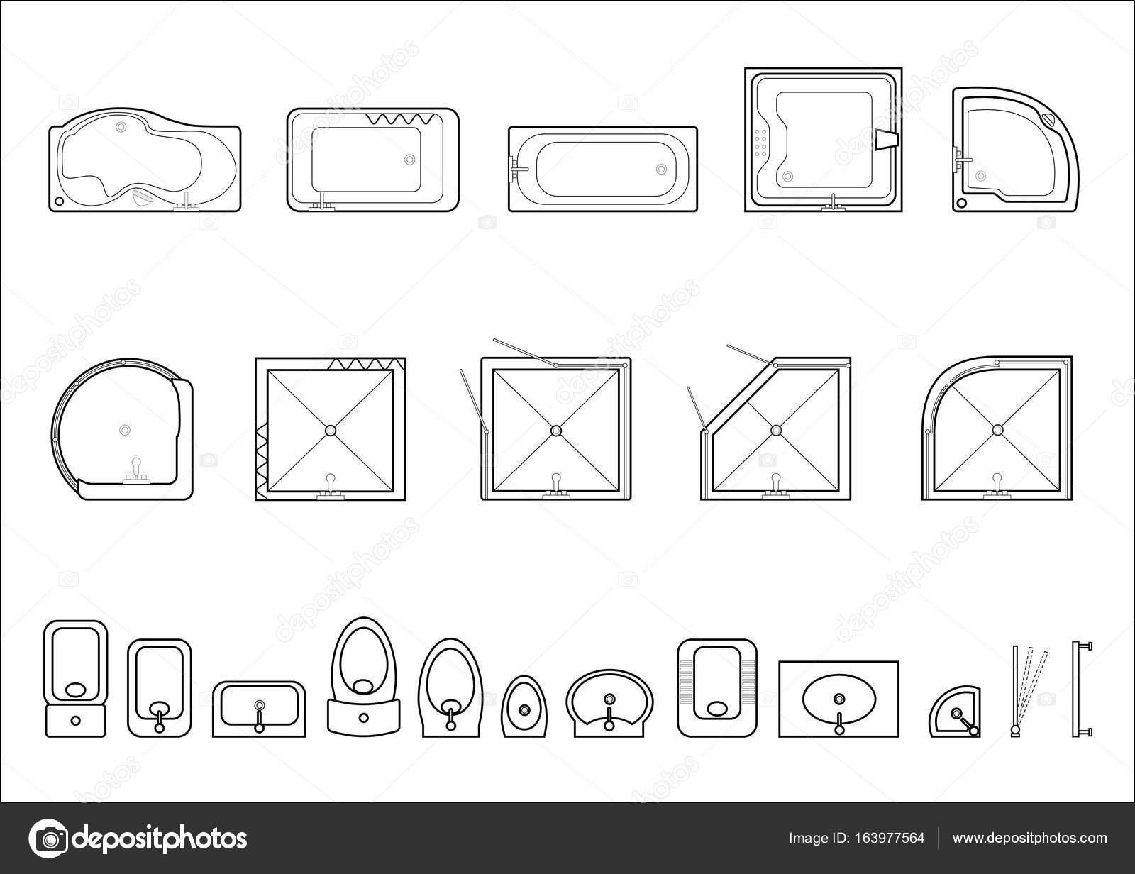 Set de iconos para planos arquitect nicos archivo for Dibujos de muebles para planos arquitectonicos