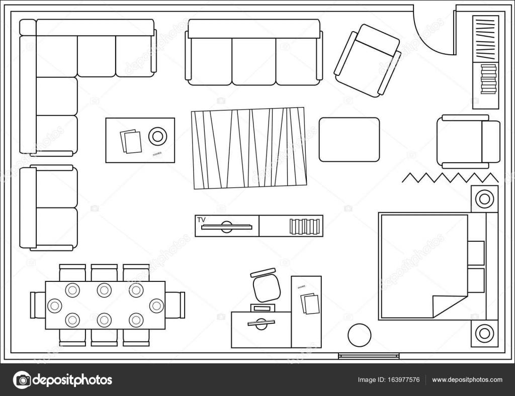 Set De Iconos Para Planos Arquitect Nicos Vector De