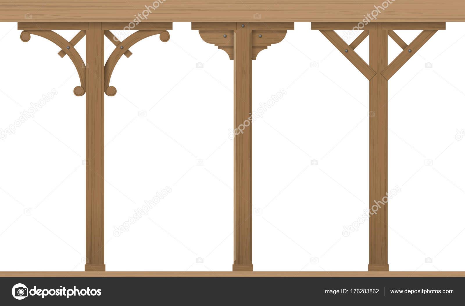Insieme di colonne di legno dell\'annata — Vettoriali Stock ...