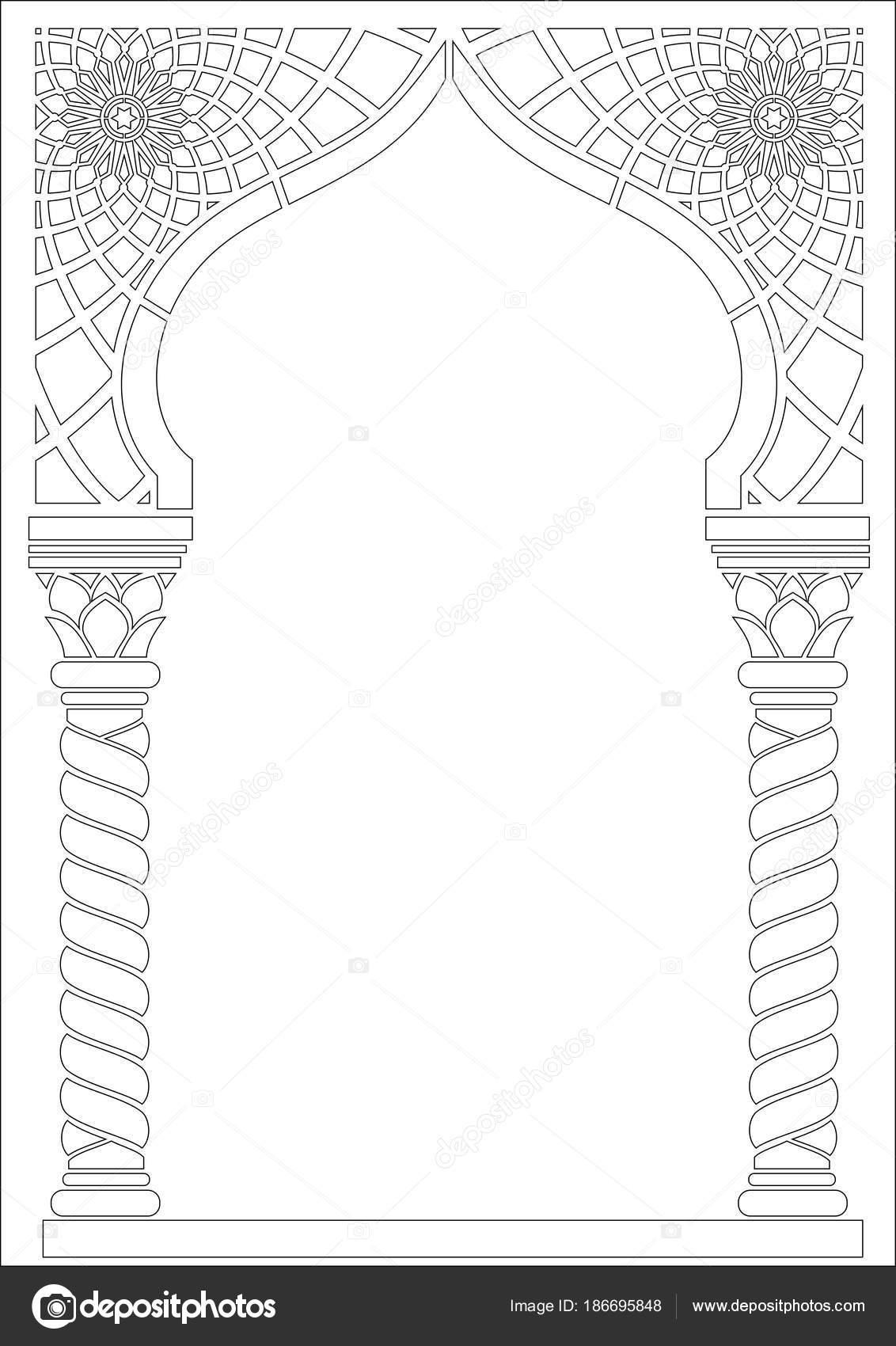 Colorear contorno del arco de estilo árabe — Archivo Imágenes ...