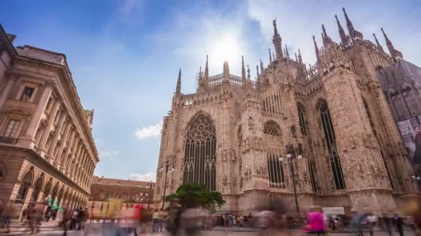 sunny day milan most famous duomo backside front sky panorama 4k time lapse italy