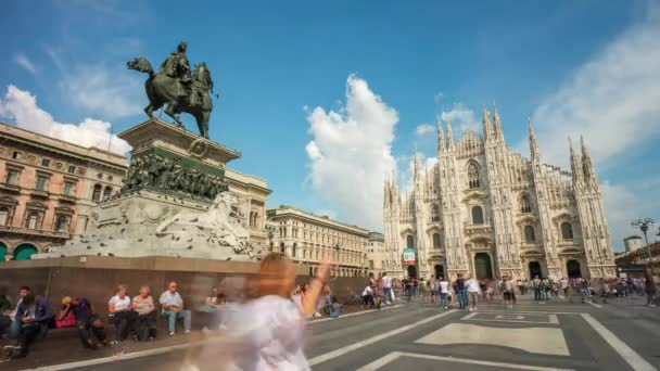 milan sunny day duomo cathedral square panorama 4k time lapse italy