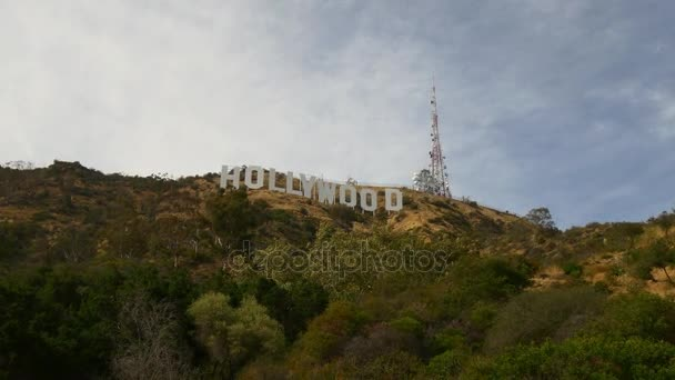 Aerial View Of Entertainment Symbol Holywood Sign Stock Video
