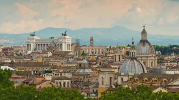 Itálie léto den Řím známé panoráma sklářského della patria střešní panorama 4k časová prodleva