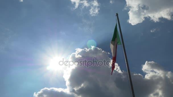 Italian flag backlit by sun