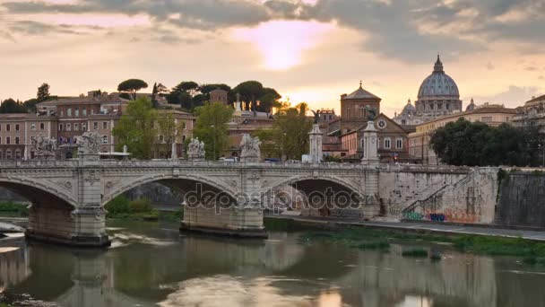 italy sunset light vatican tiber river rome famous panorama 4k time lapse