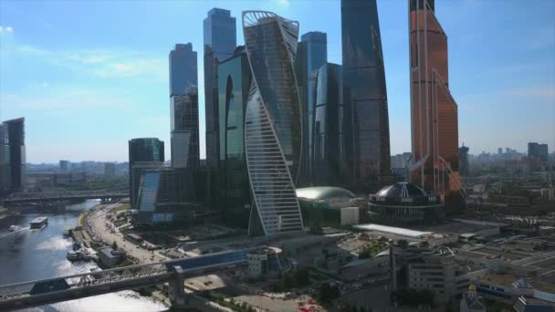 Sunny day moscow modern city riverside aerial panorama 4k russia