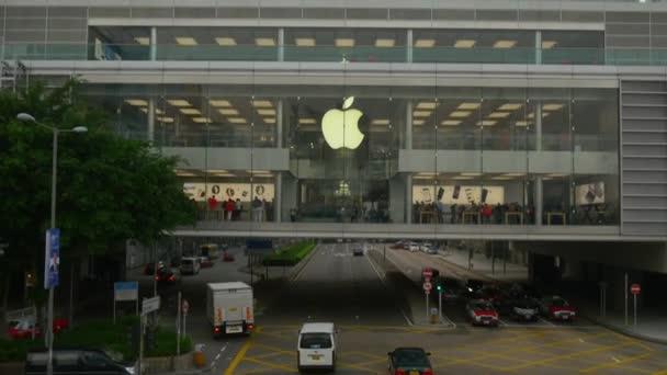 den čas hong kong provozu ulice apple store přední panorama 4k Čína