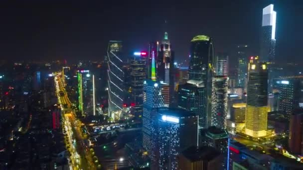 Éjszakai guangzhou ipari városkép légi panoráma. 4k timelapse felvételek kínai