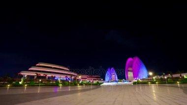 ZHUHAI, CHINA - SEPTEMBER 2017: night illumination zhuhai city famous opera house square panorama 4k timelapse circa september 2017 zhuhai, china.