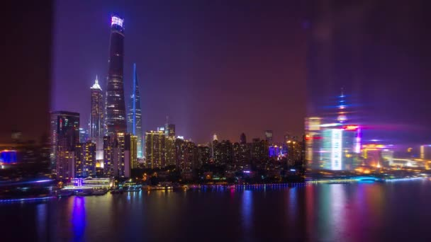 Night Shanghai cityscape. Pudong downtown tops bay aerial panorama 4k footage china