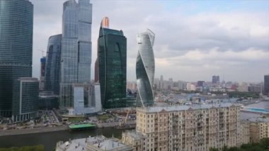 Moscow city river bay aerial footage panorama 4k russia
