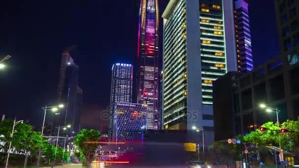 noční osvětlená slavná shanghai pudong panoráma letecké dopravy timelapse panorama 4k Číně