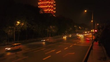 Time lapse cityscape traffic footage of Wuhan city, China