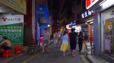 Shen Zhen cityscape traffic with people footage panorama