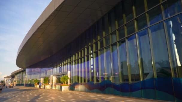 Shenzhen Shekou cruise center exterior with tourists 4k China