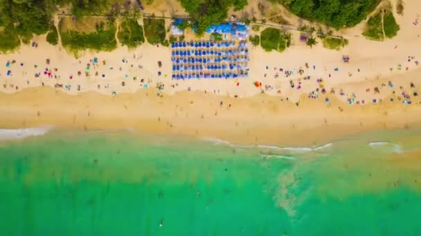 Tourists on resort beach of phuket island. 4k timelapse footage