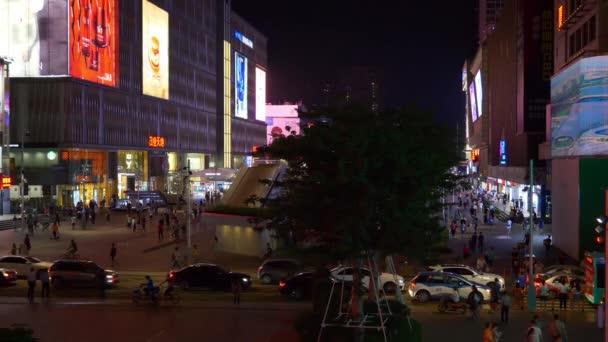 SHENZHEN, CHINA - DECEMBER 2017: night crowded panoramic view 4k circa december 2017 shenzhen, china.