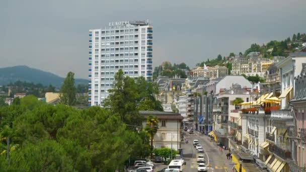 Montreux city. City traffic. aerial panorama 4k slowmotion footage switzerland