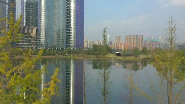 Day time Chengdu city downtown aerial panorama 4k china