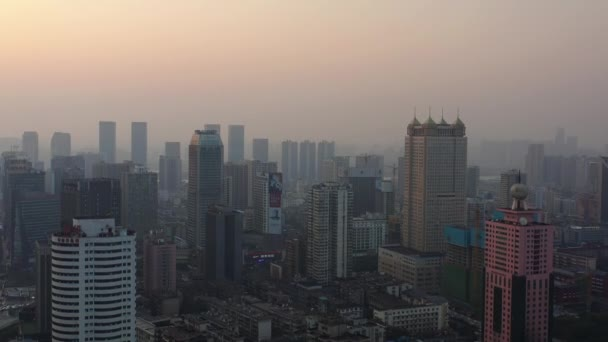 changsha city sunny day famous downtown bay aerial timelapse panorama 4k china