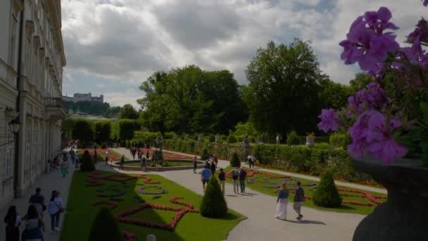 SALZBURG, AUSTRIA - JULY 7 2019: cityscape sunny day famous garden fountain panorama 4k circa july 7 2019 salzburg, austria.