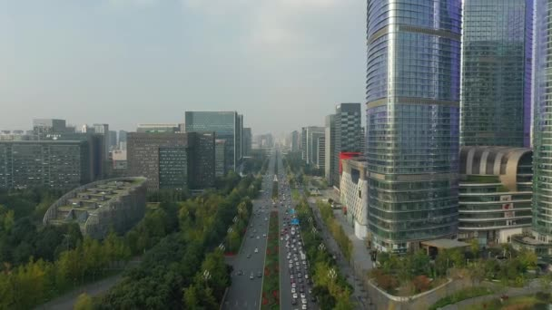 Day time Chengdu city downtown aerial panorama 4k china