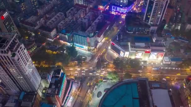 Night time flight over nanjing city traffic aerial panorama 4k timelapse footage