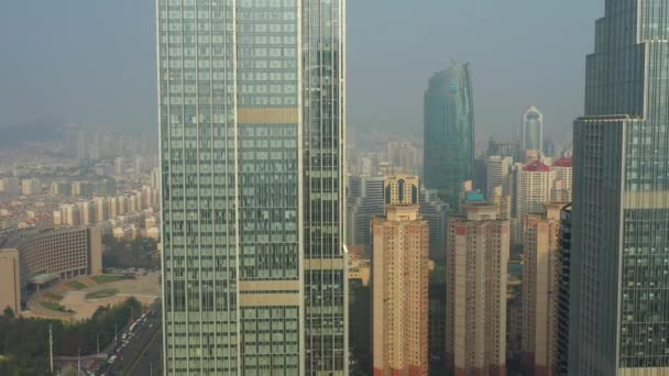 Day time qingdao city downtown aerial panorama 4k china
