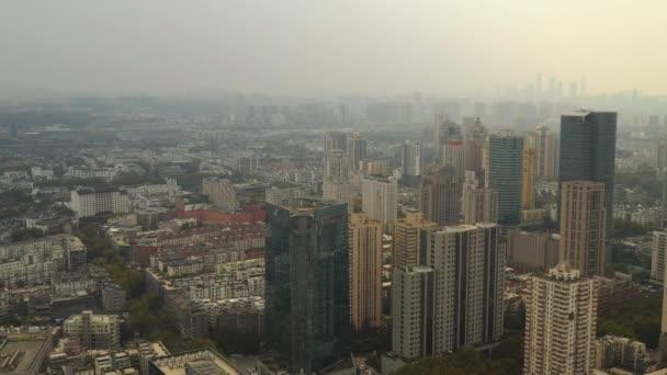Nappali repülés Nanjing város légi panoráma 4k felvételek