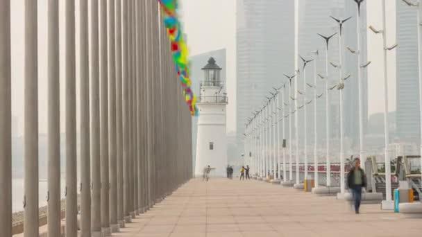 slunečný den Qingdao město slavné centrum olympijské zátoky maják vzdušný timelapse panorama 4k porcelán