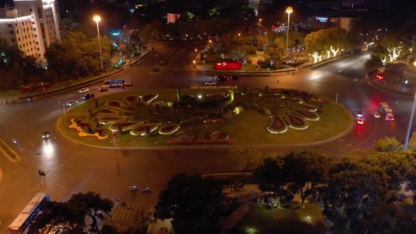Night time flight over nanjing city traffic aerial panorama 4k footage