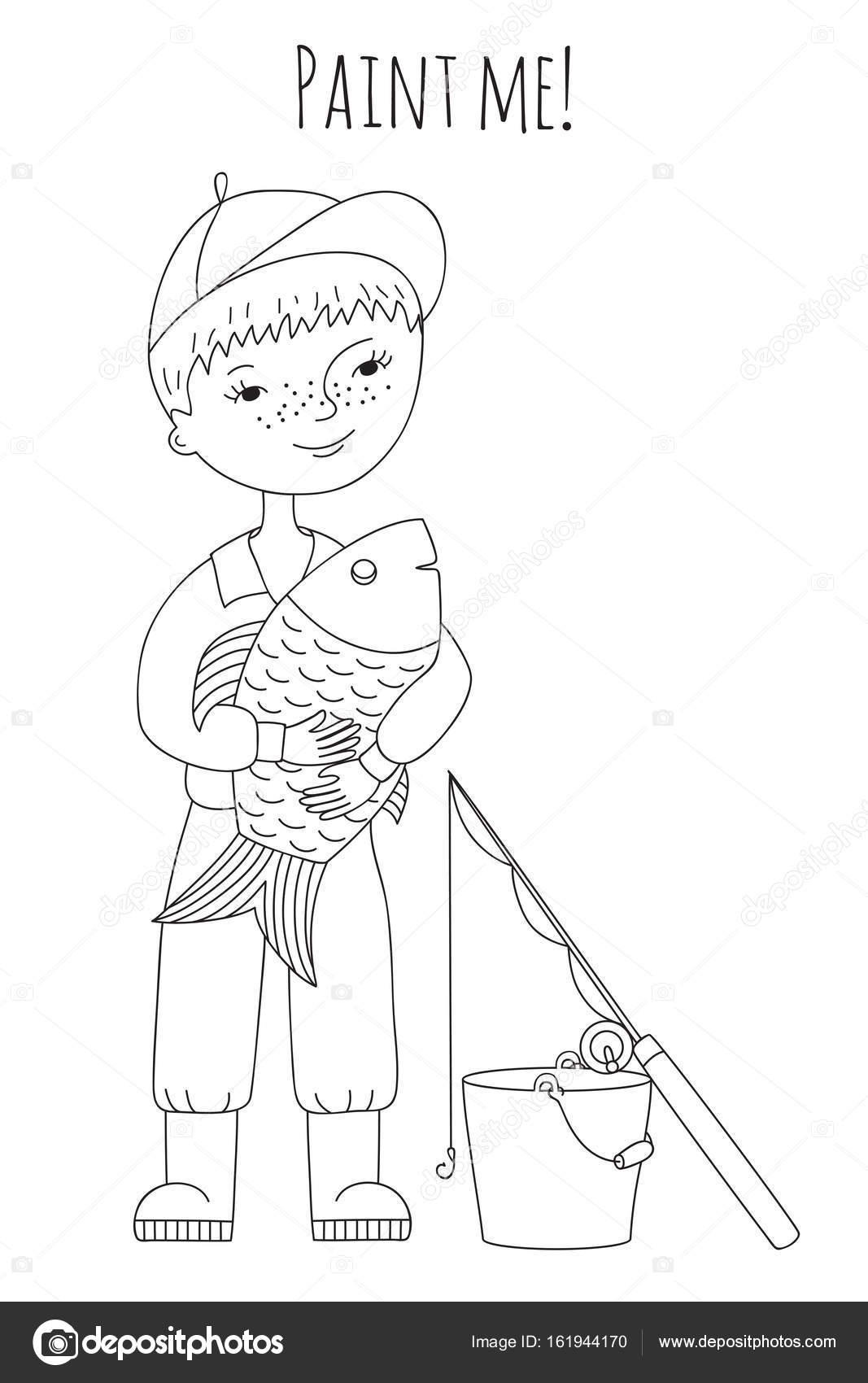 Pescado y niño para colorear — Archivo Imágenes Vectoriales ...