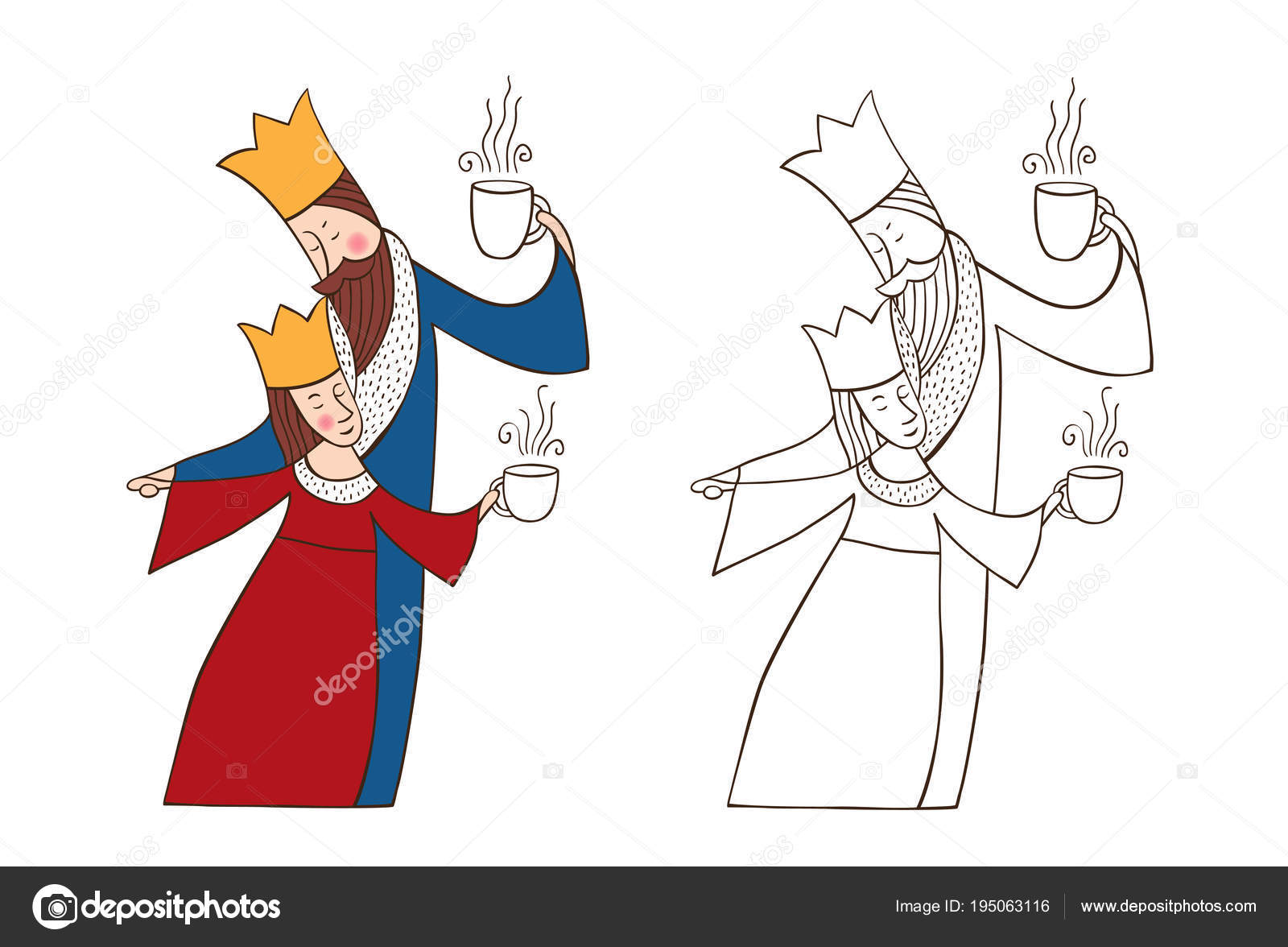 Imágenes Una Reina Y Un Rey Para Colorear Rey Y Reina Vector De