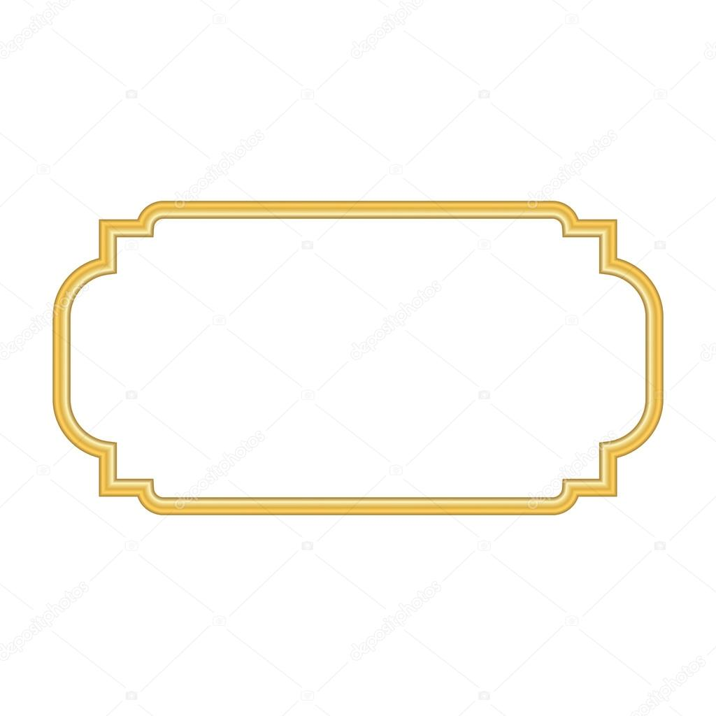 e677ce1f51 Szép egyszerű arany design. Vintage stílusú dekoratív szegéllyel,  elszigetelt fehér background. Deco elegáns műtárgy. Üres másolat helyet  banner, dekoráció, ...
