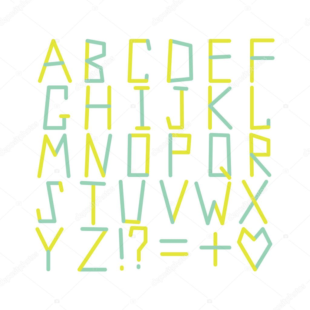 Modern Alphabet Set ABC Geometric Letters Creative Font Multicolored Typography Broken New Vector Typeface