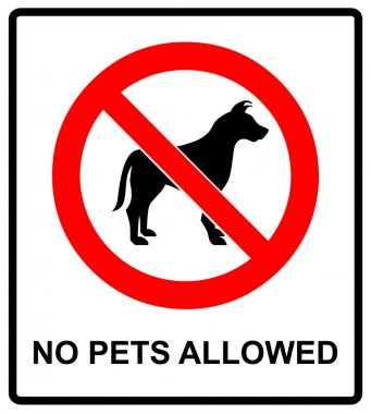no pet allowed sign illustration vector no dogs, please, warning sticker for public places isolated on white red circle