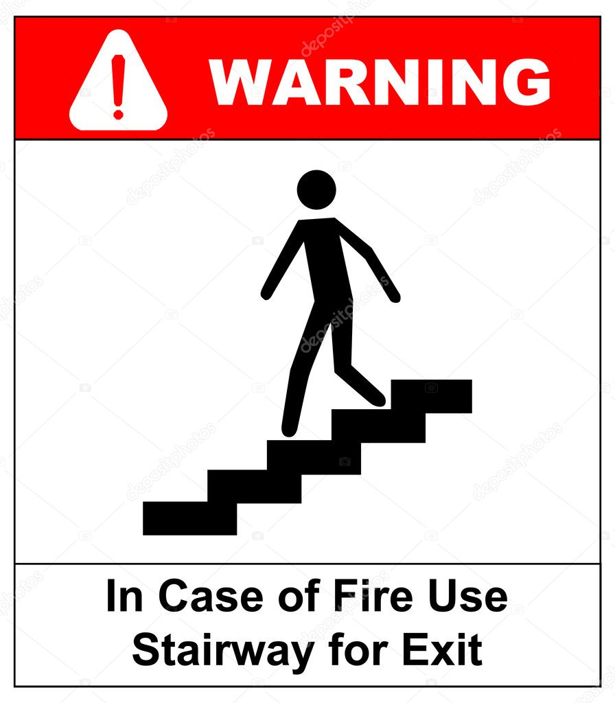In Case Of Fire Use Stairway For Exit Sign Vector Symbol Stock