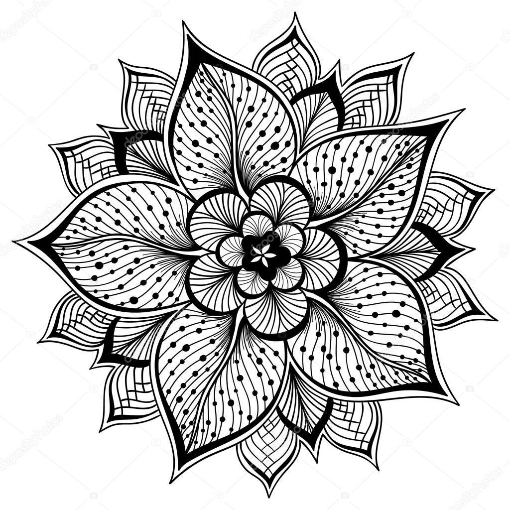 Imágenes: contorno flores para pintar | Ilustración vectorial de