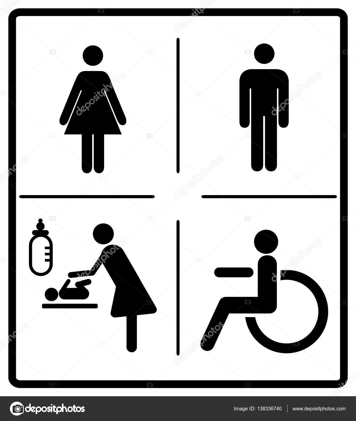 photo about Bathroom Signs Printable named Lavatory symptoms printable Vector mens and womens disabled