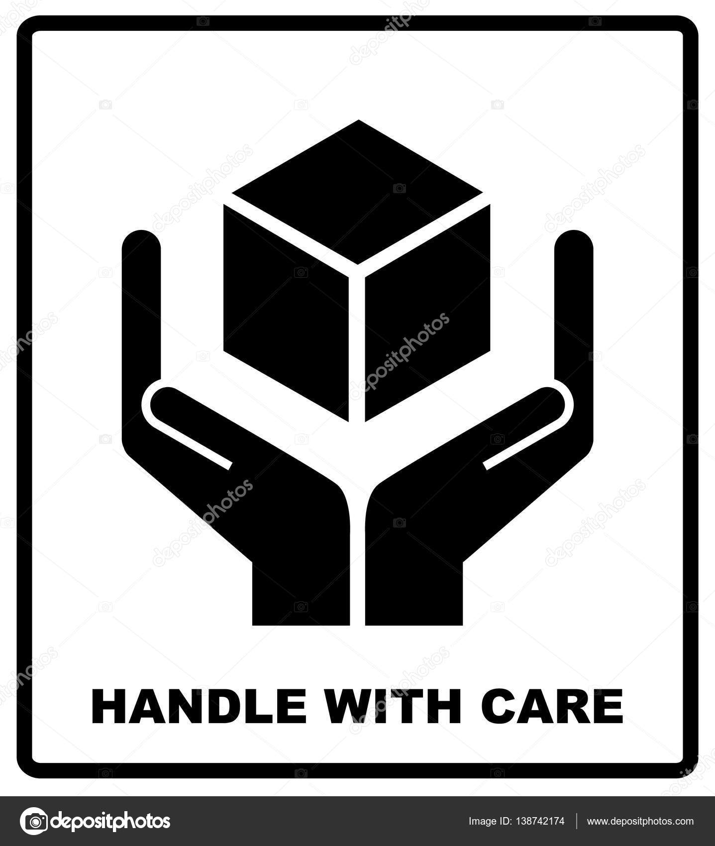 Handle with care sign isolated on white background vector handle with care sign isolated on white background vector illustration black silhouettes of box and hands package flat symbol vector by merly69 buycottarizona