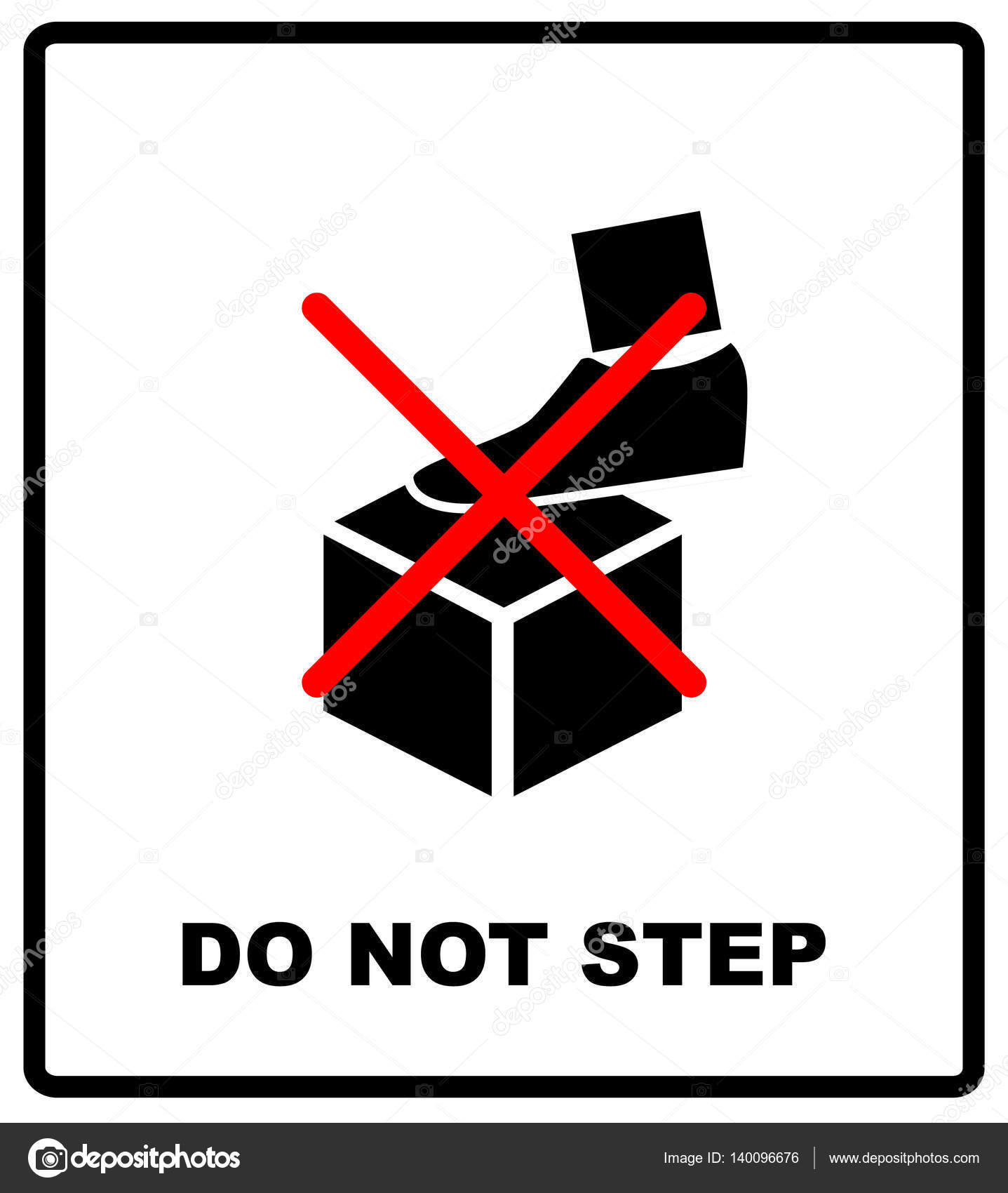 Do Not Step Packaging Symbol On A Corrugated Cardboard Background