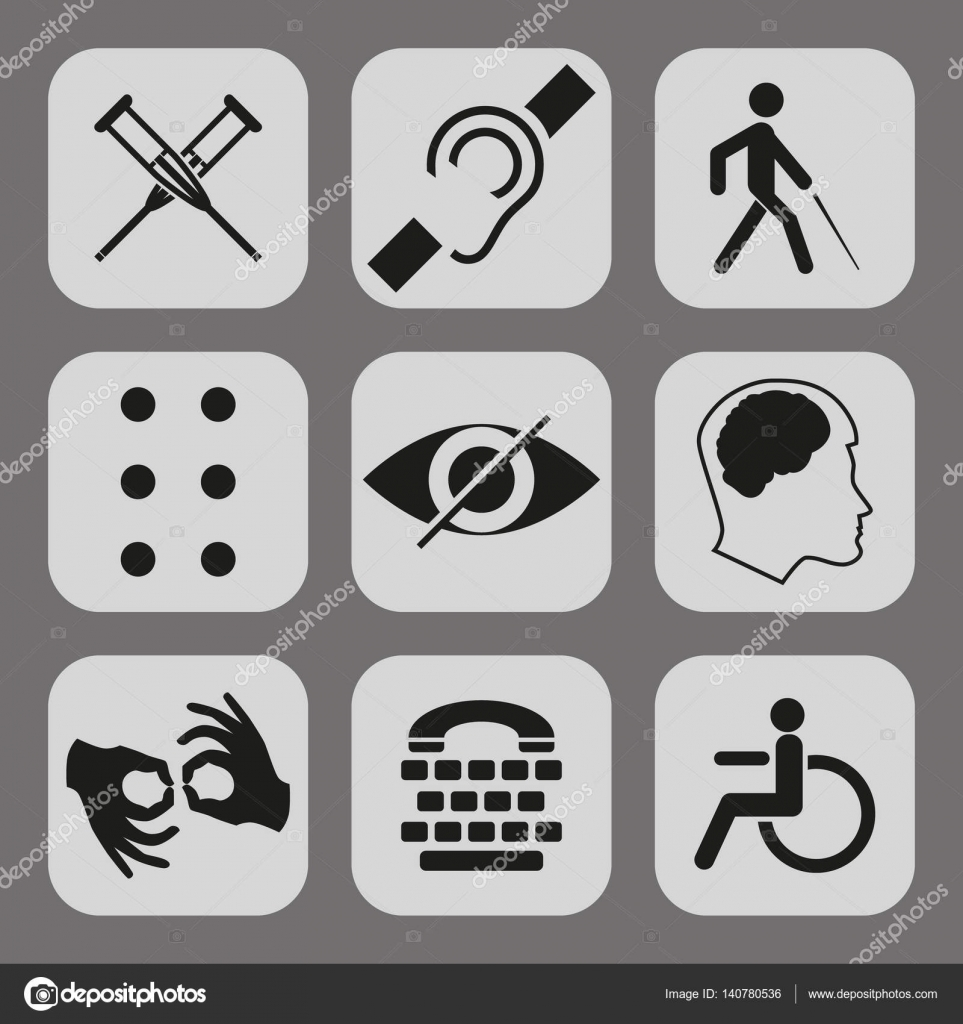 Vector disabled signs with deaf dumb mute blind braille font vector disabled signs with deaf dumb mute blind braille font mental disease low vision wheelchair icons collection of mandatory signs for public buycottarizona Image collections