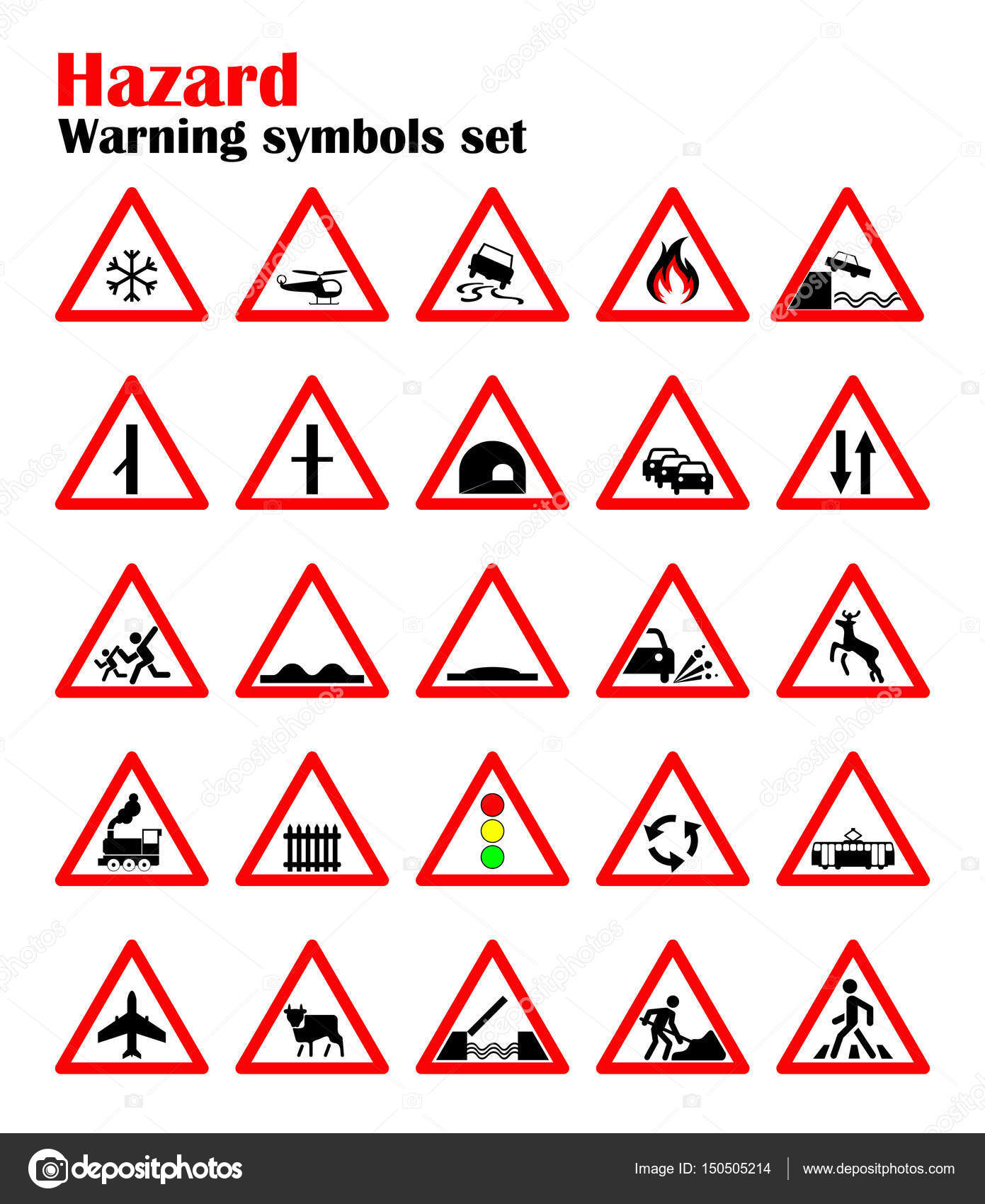 Set Road Hazard Warning Signs Road Signs Warn About The Situation