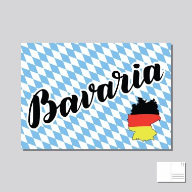 Bavaria hand drawn lettering. Vector lettering illustration. Template for Traditional German Oktoberfest bier festival