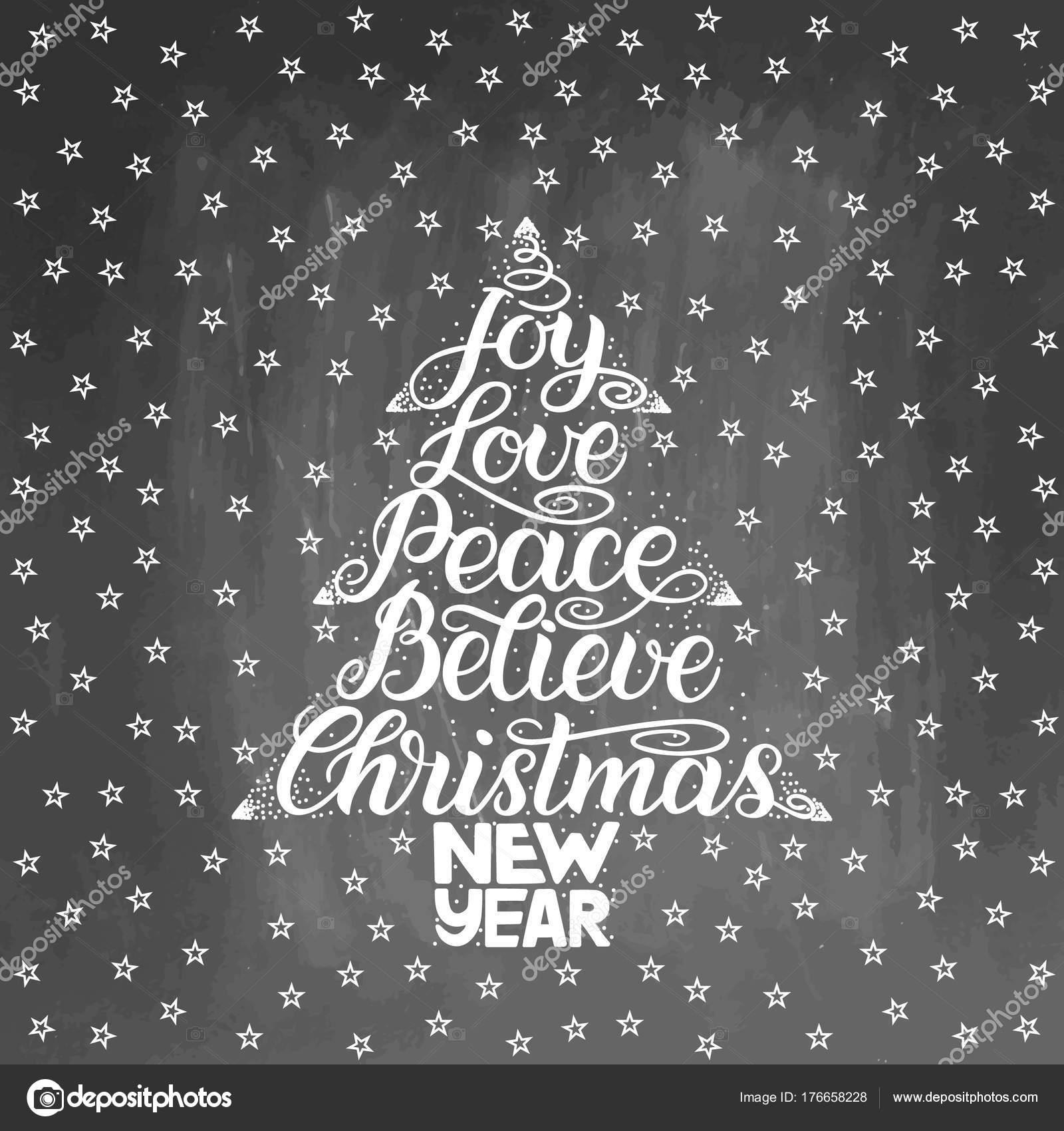 Weihnachts-Grußkarte. Neujahr-Schriftzug mit Wunsch der Freude ...