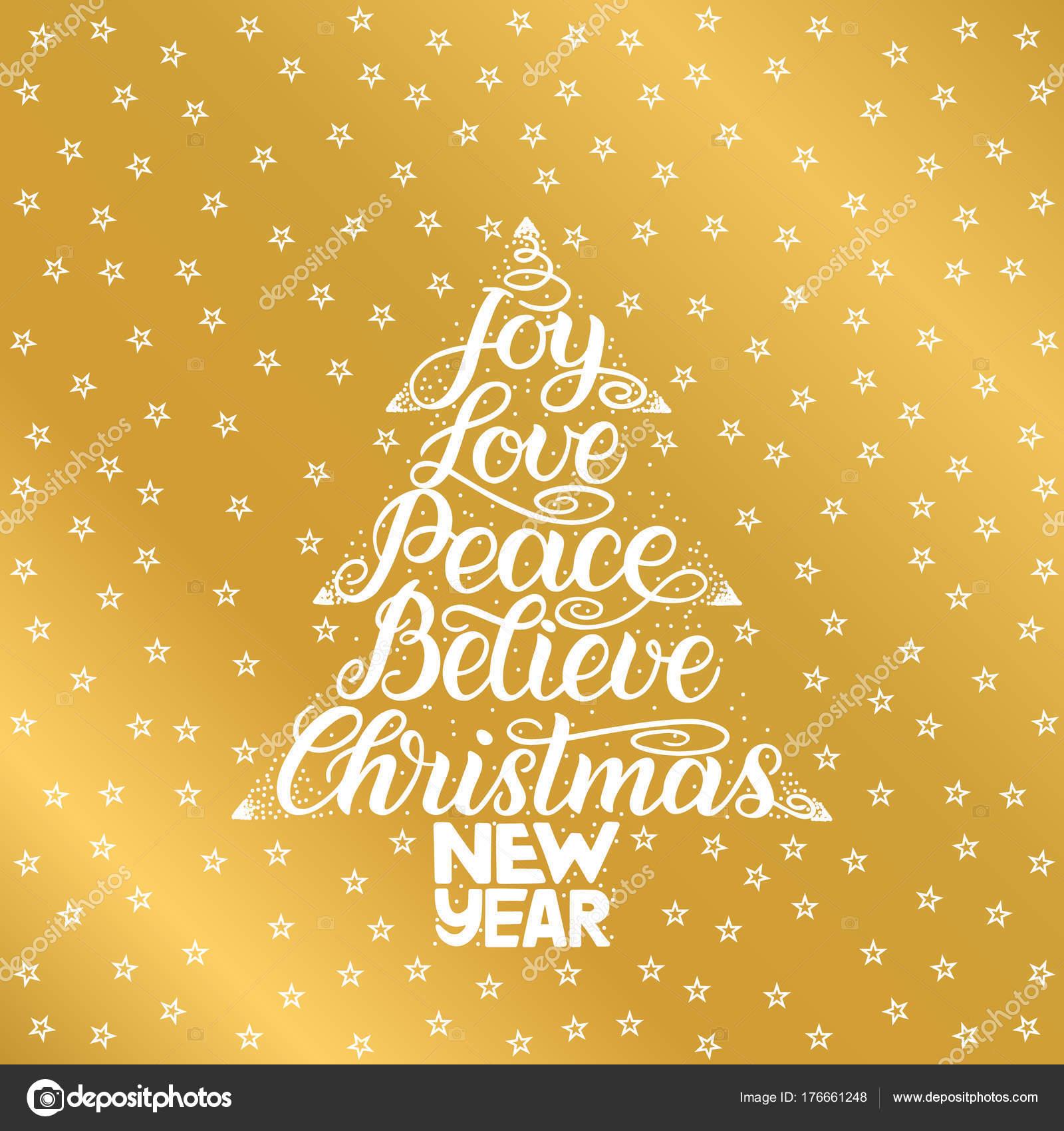 Freude, Liebe, Frieden, glauben, Weihnachten, Neujahr. Handschrift ...