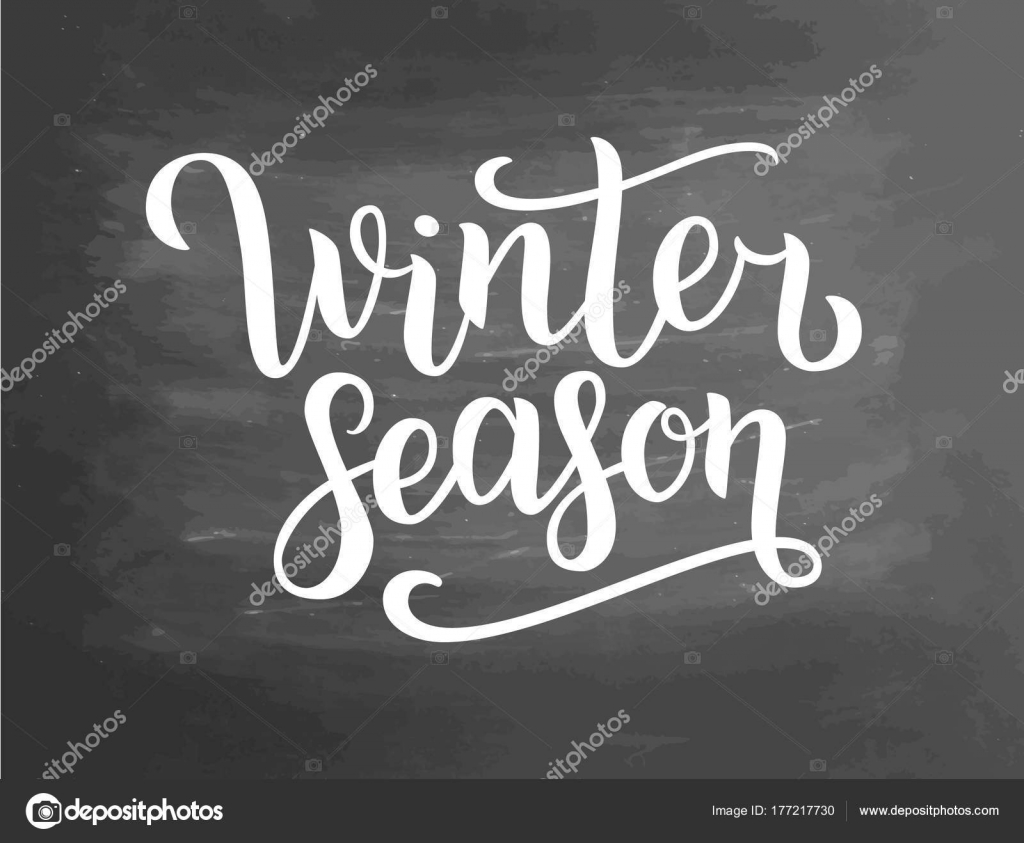 Winter Season White Lettering Text On Chalkboard Background Vector