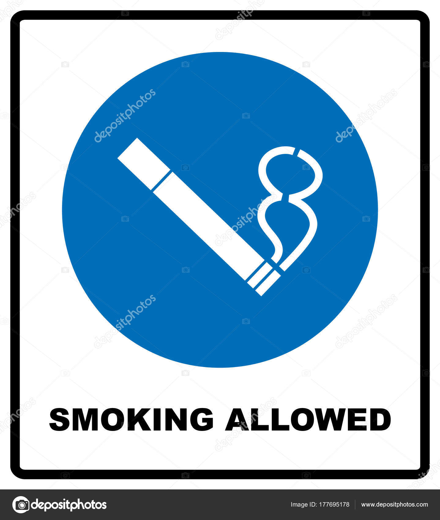 Smoking allowed icon round blue sign with white pictogram and black smoking allowed icon round blue sign with white pictogram and black text vector illustration isolated on white mandatory symbol for public places and buycottarizona Images
