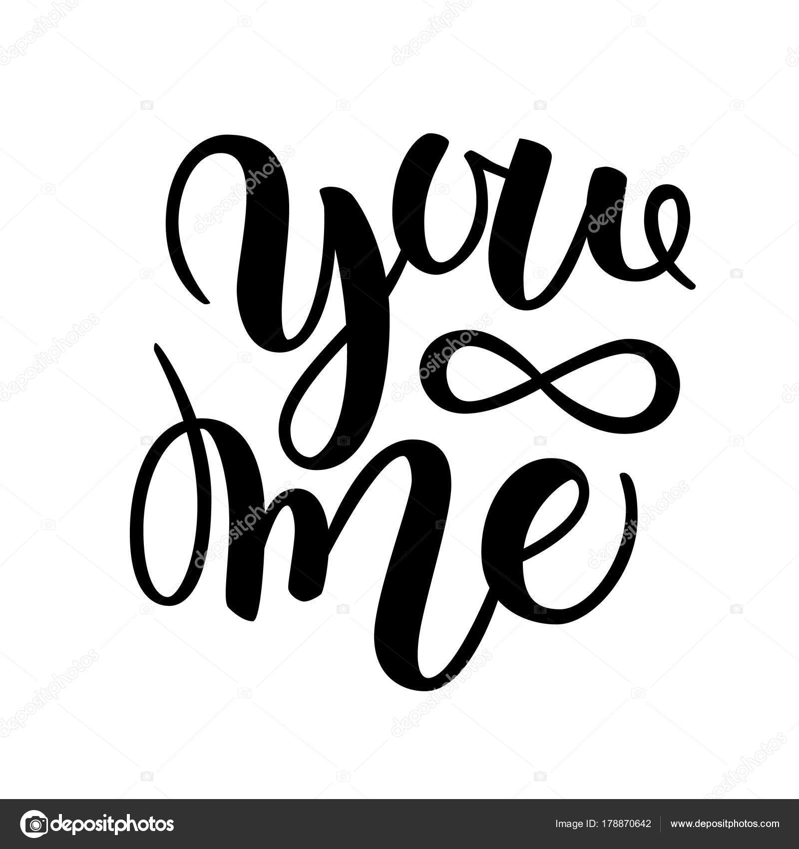 You And Me Modern Calligraphy Lettering Design For Typography Poster Or T Shirt